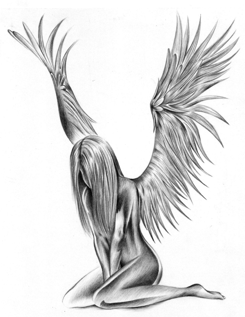 angel naked tattoos for men