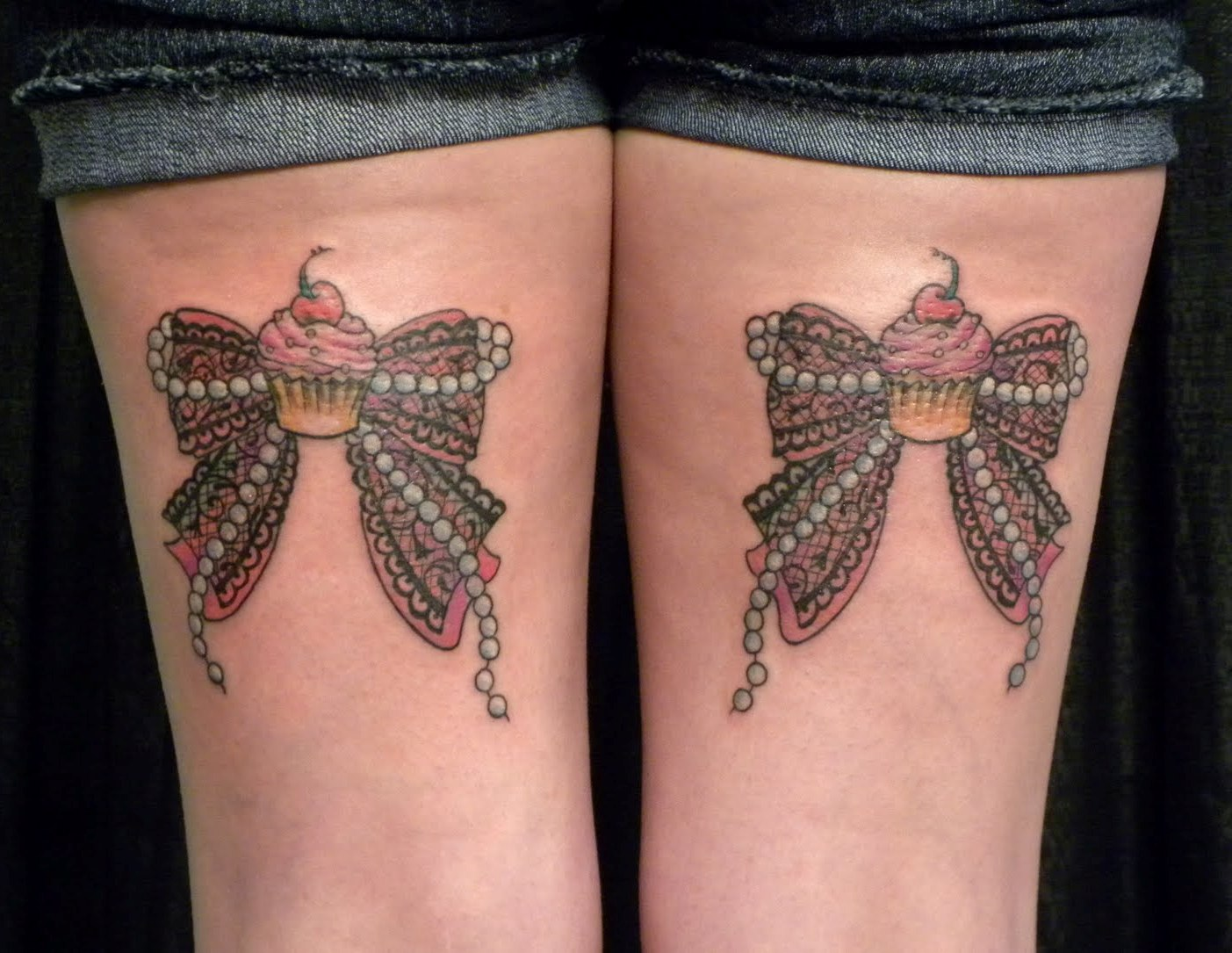Bow Tattoos On Back of Legs