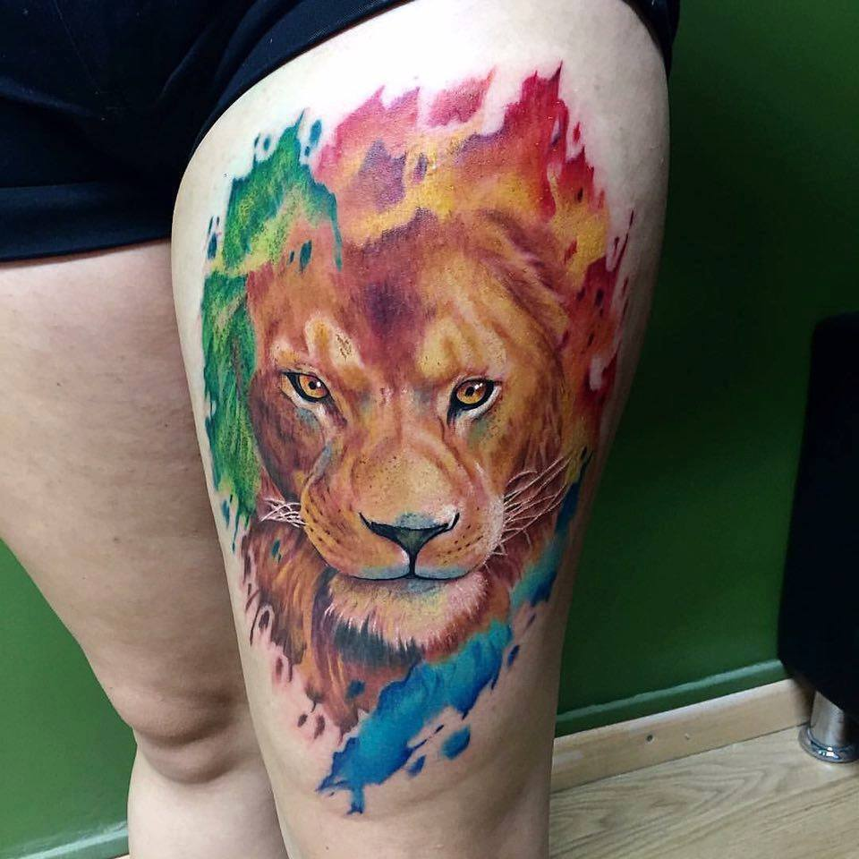 Colorful Lion Tattoo Tattoo Tattooed Tattoos: Lion Tattoos Designs, Ideas And Meaning
