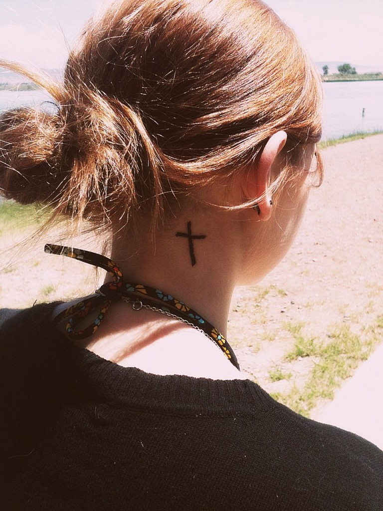Cross Tattoo on Neck