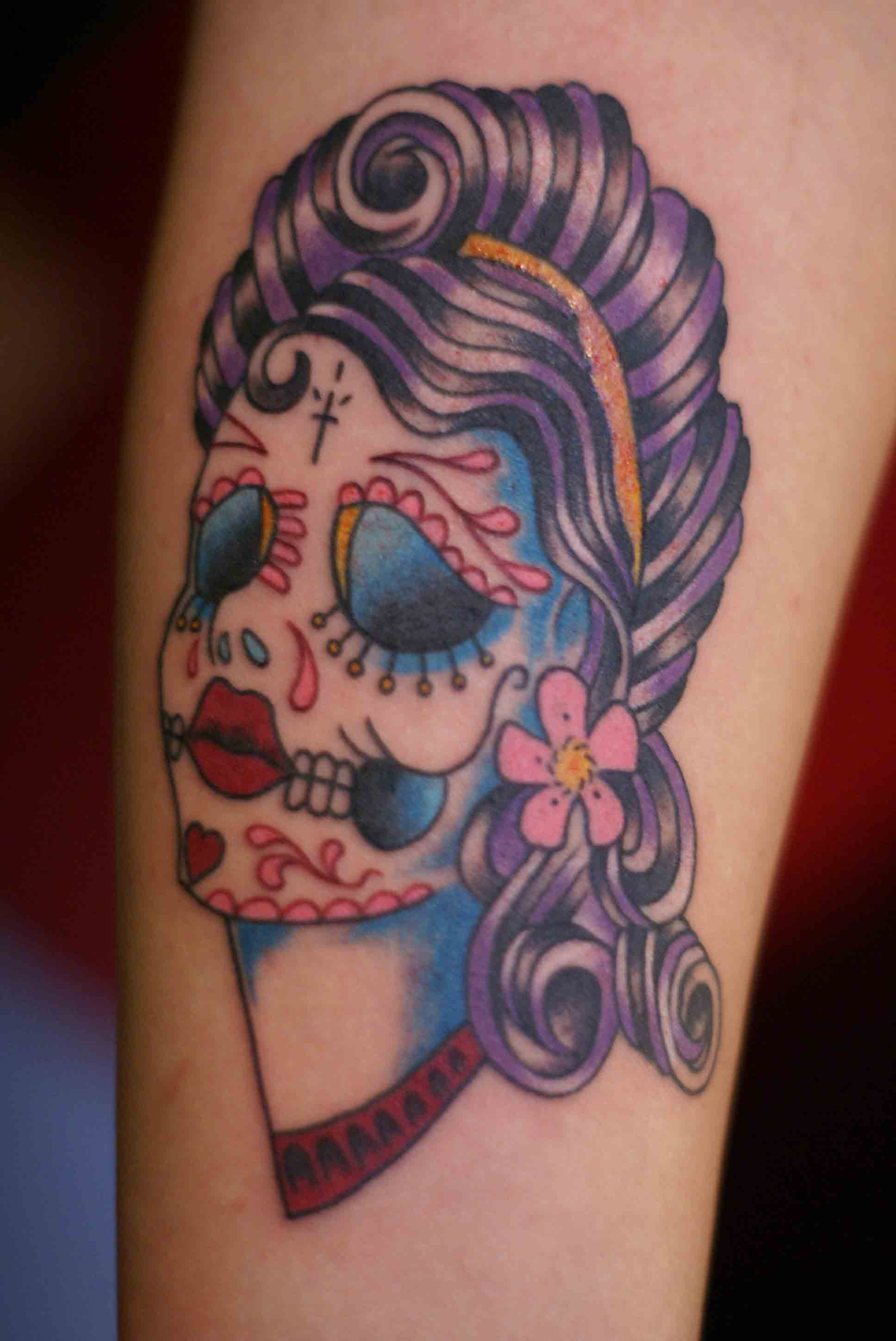 Day of the dead tattoos designs ideas and meaning for Girl head tattoo