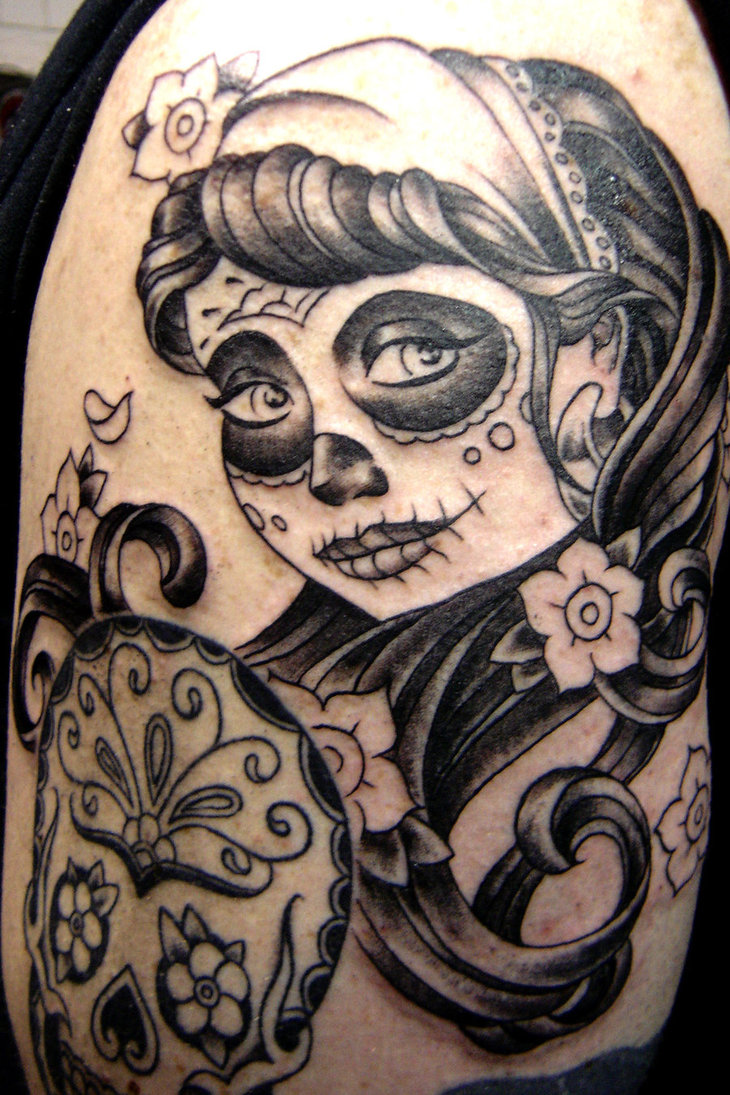 day of the dead female tattoo the image kid has it. Black Bedroom Furniture Sets. Home Design Ideas