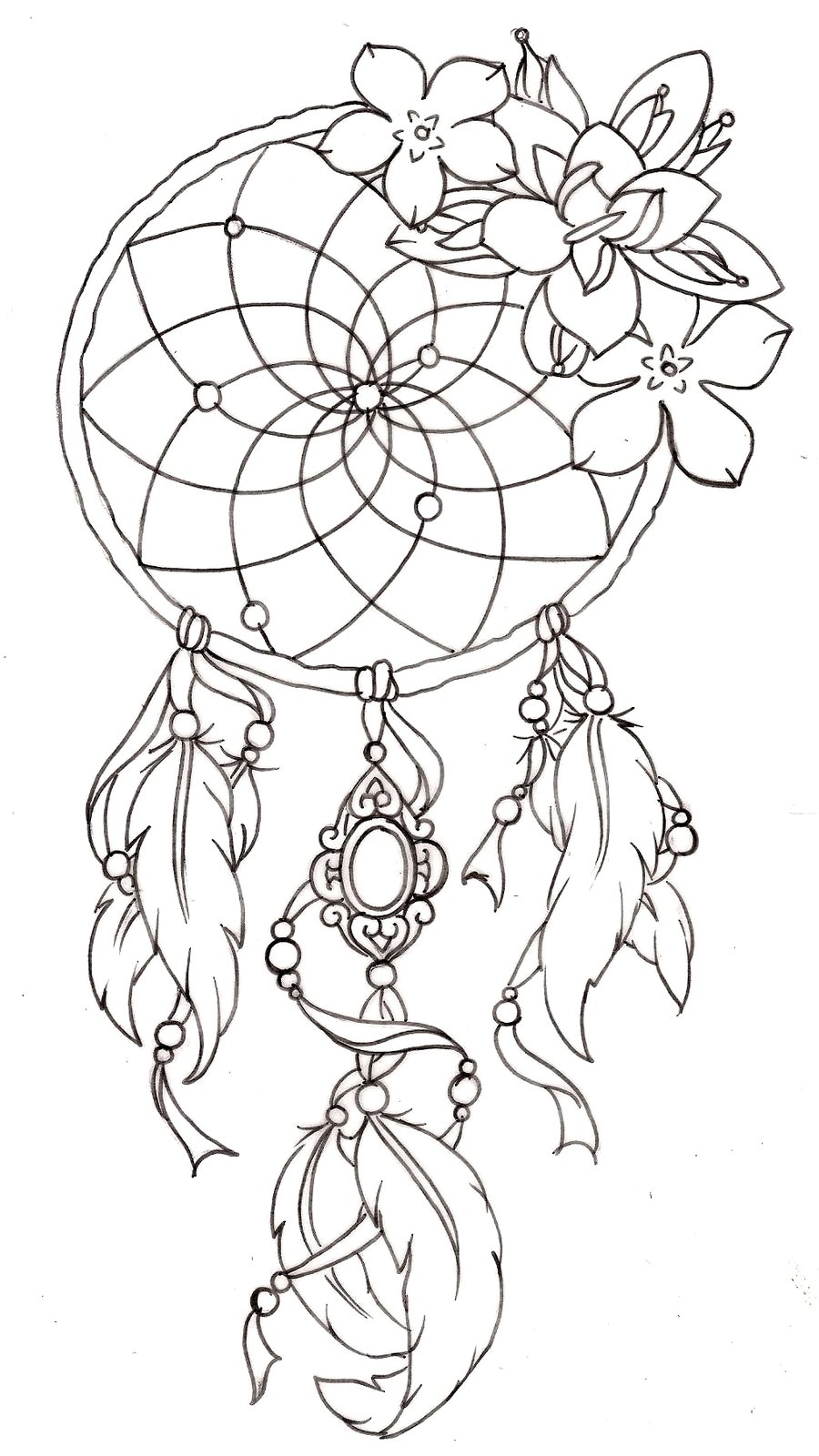 Dreamcatcher tattoos designs ideas and meaning tattoos for Dreamcatcher tattoo template