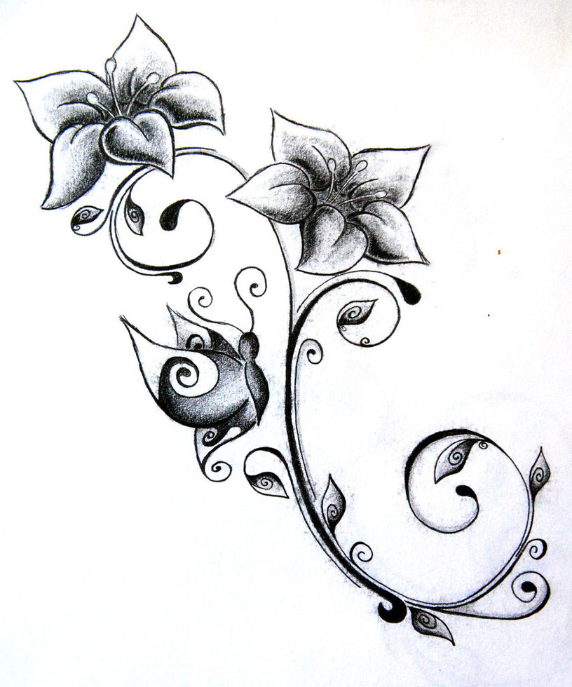 Flower Tattoos on key drawing