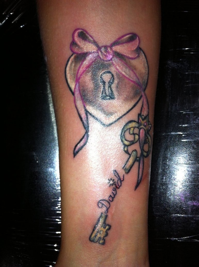 Sacred Heart With Key Tattoo Designs
