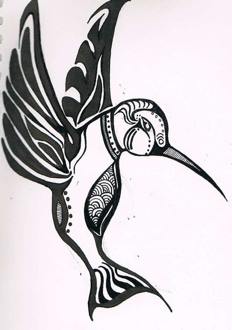 Tribal hummingbird designs