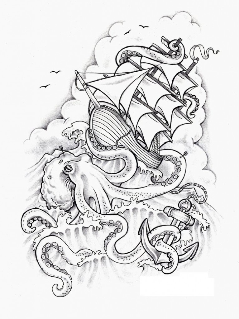 Octopus Ship Tattoo