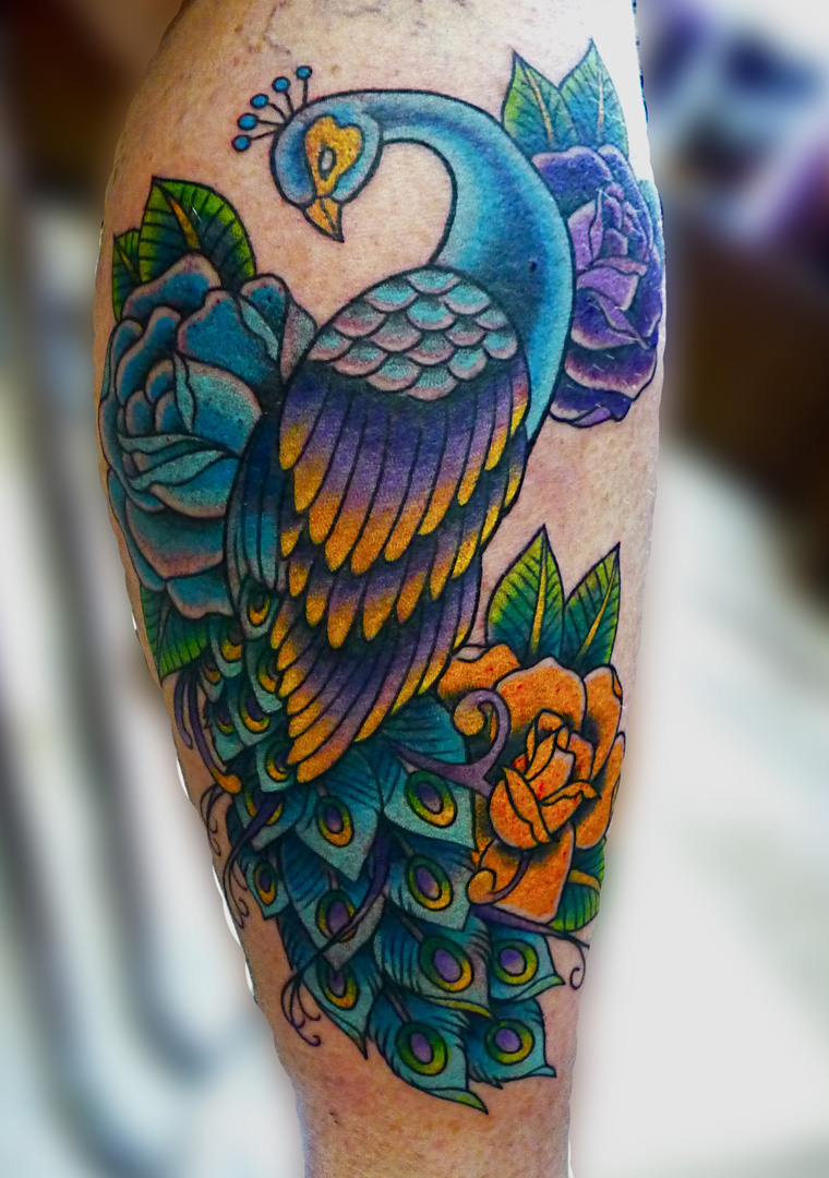 Peacock Tattoo Designs On Thigh