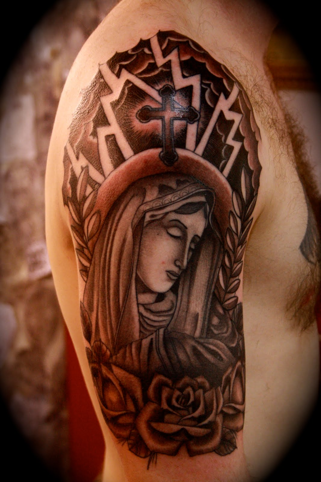 Half Sleeve Tattoo Stencils: Religious Tattoos Designs, Ideas And Meaning