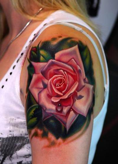 Pink Rose Shoulder Tattoo