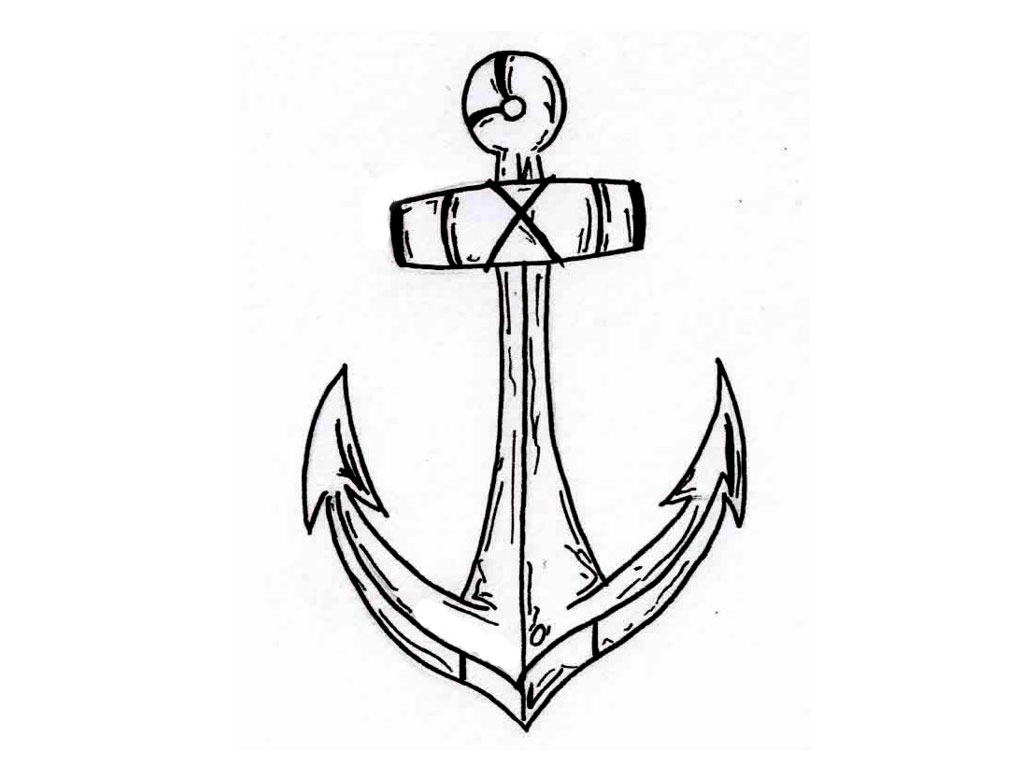 simple anchor tattoo drawings sketch coloring page