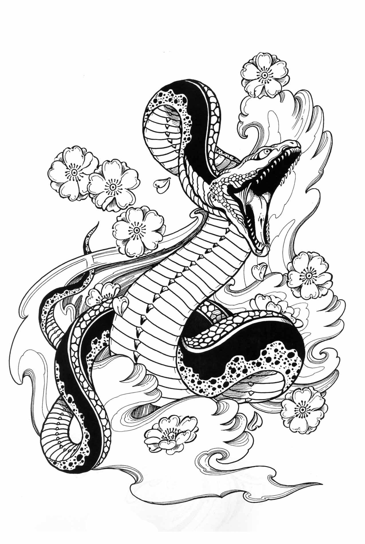Japanese Snake Drawing at GetDrawings | Free download |Snake Tattoo Sketches