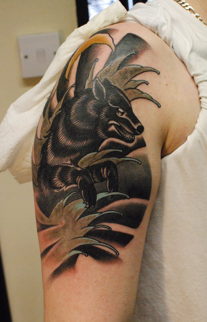 wolf tattoo traditional tattoos shoulder designs meaning inspired werewolf japanese sleeve colored japaneese dark right likes tattoosforyou