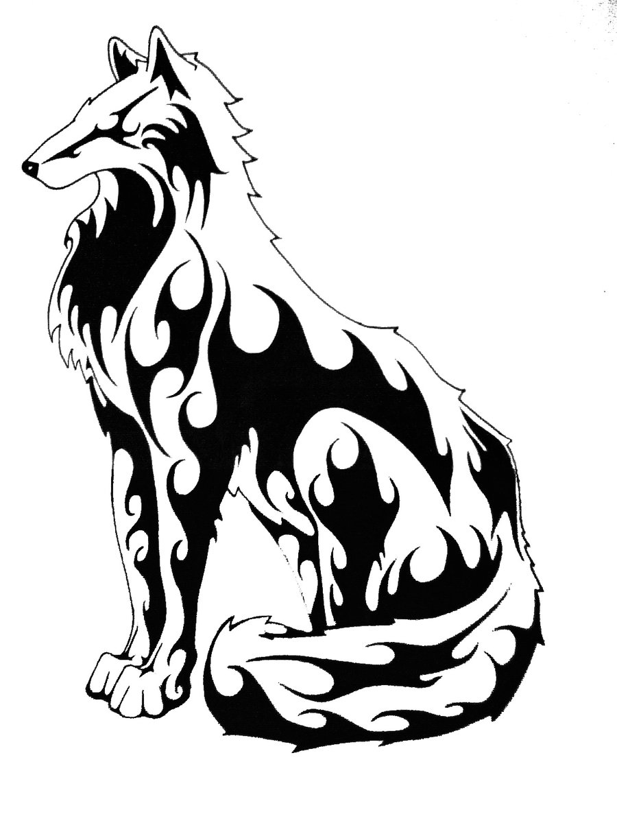 Simple Tribal Wolf