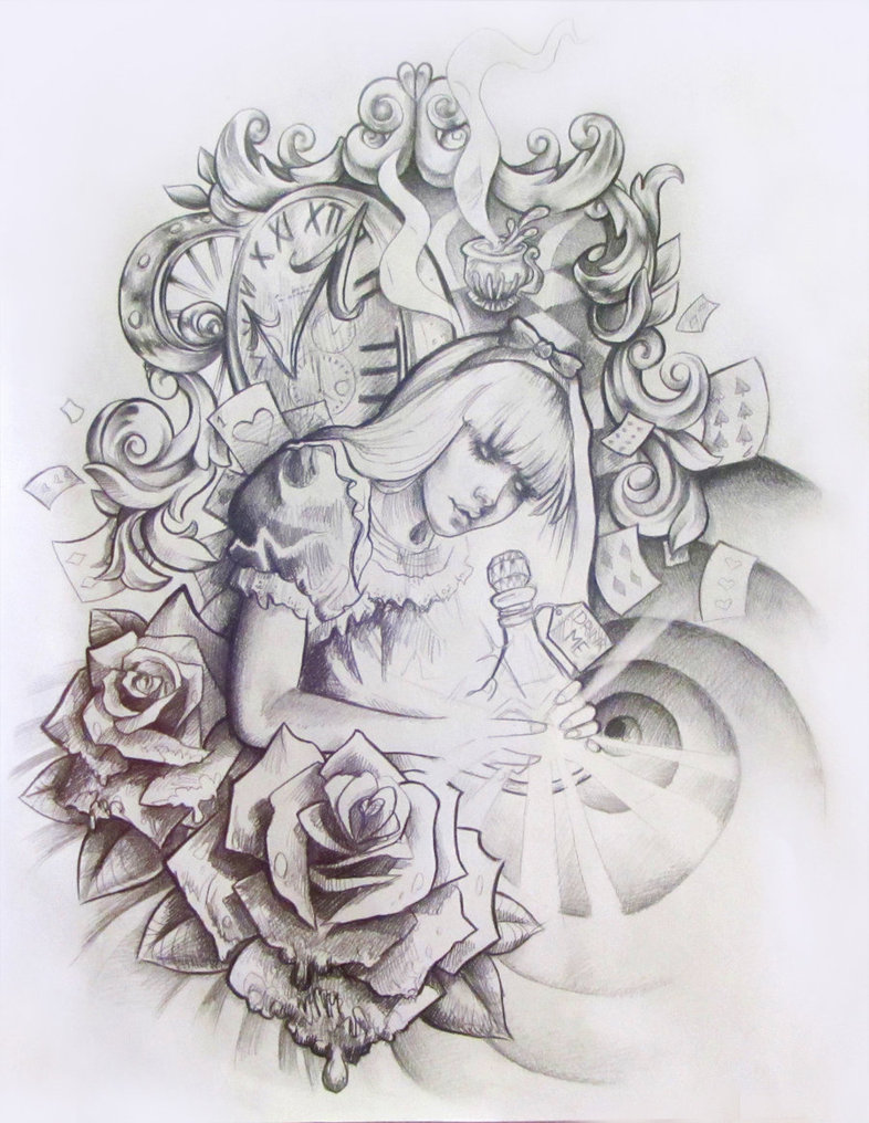 Displaying 20gt Images For Alice In Wonderland Tattoo