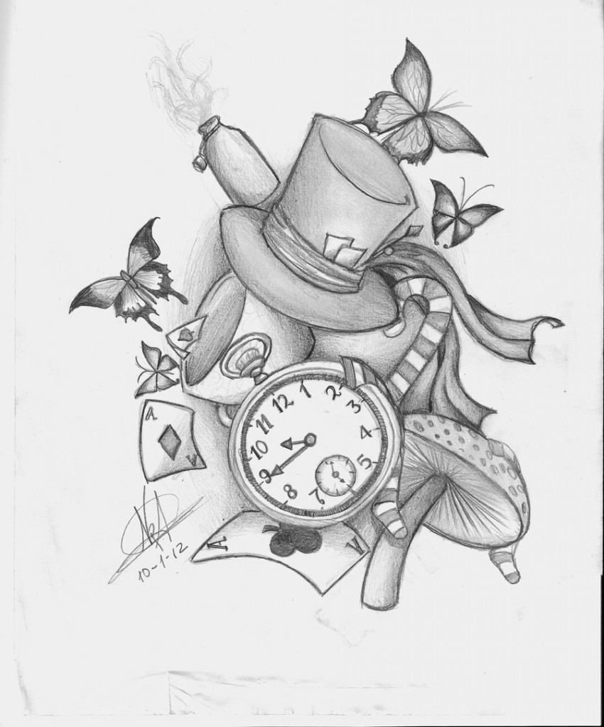 Live Life With No Regrets Tattoo Sketches Drawing Art: Alice In Wonderland Tattoos Designs, Ideas And Meaning
