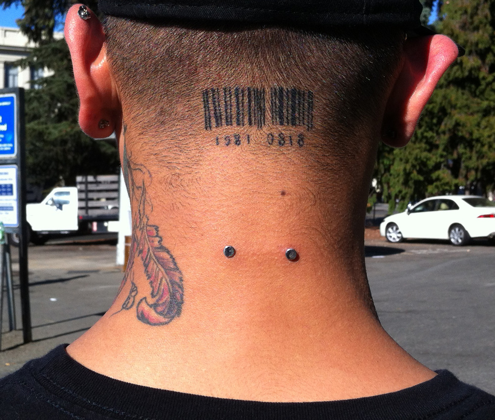 Barcode Tattoo Neck Barcode Tattoos Pictures