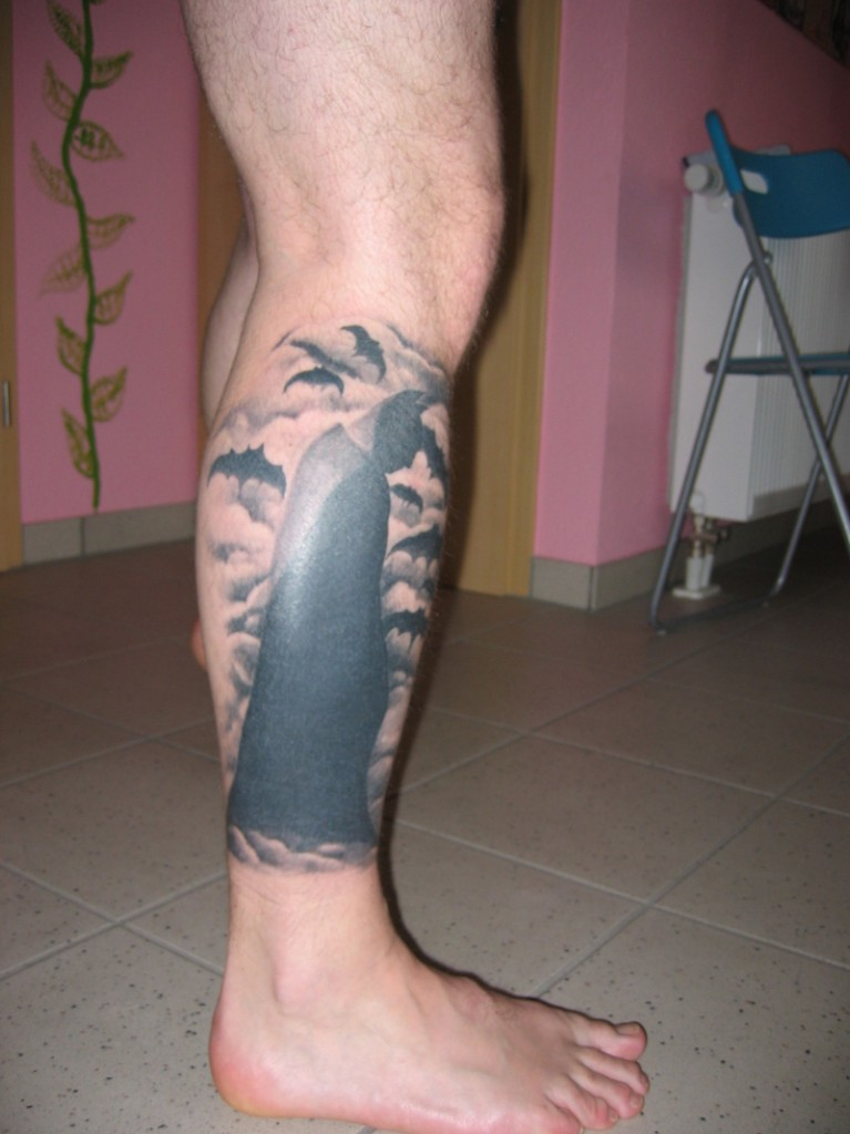 Batman Tattoo On Leg