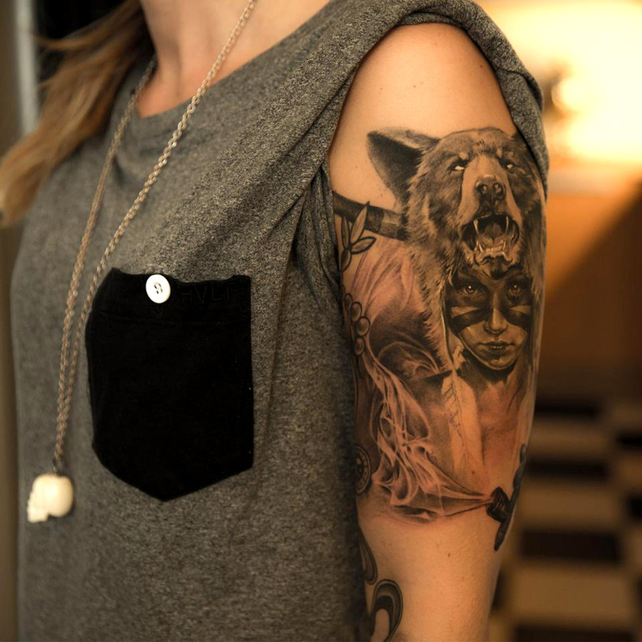 Tattoo Woman Photo: Bear Tattoos Designs, Ideas And Meaning