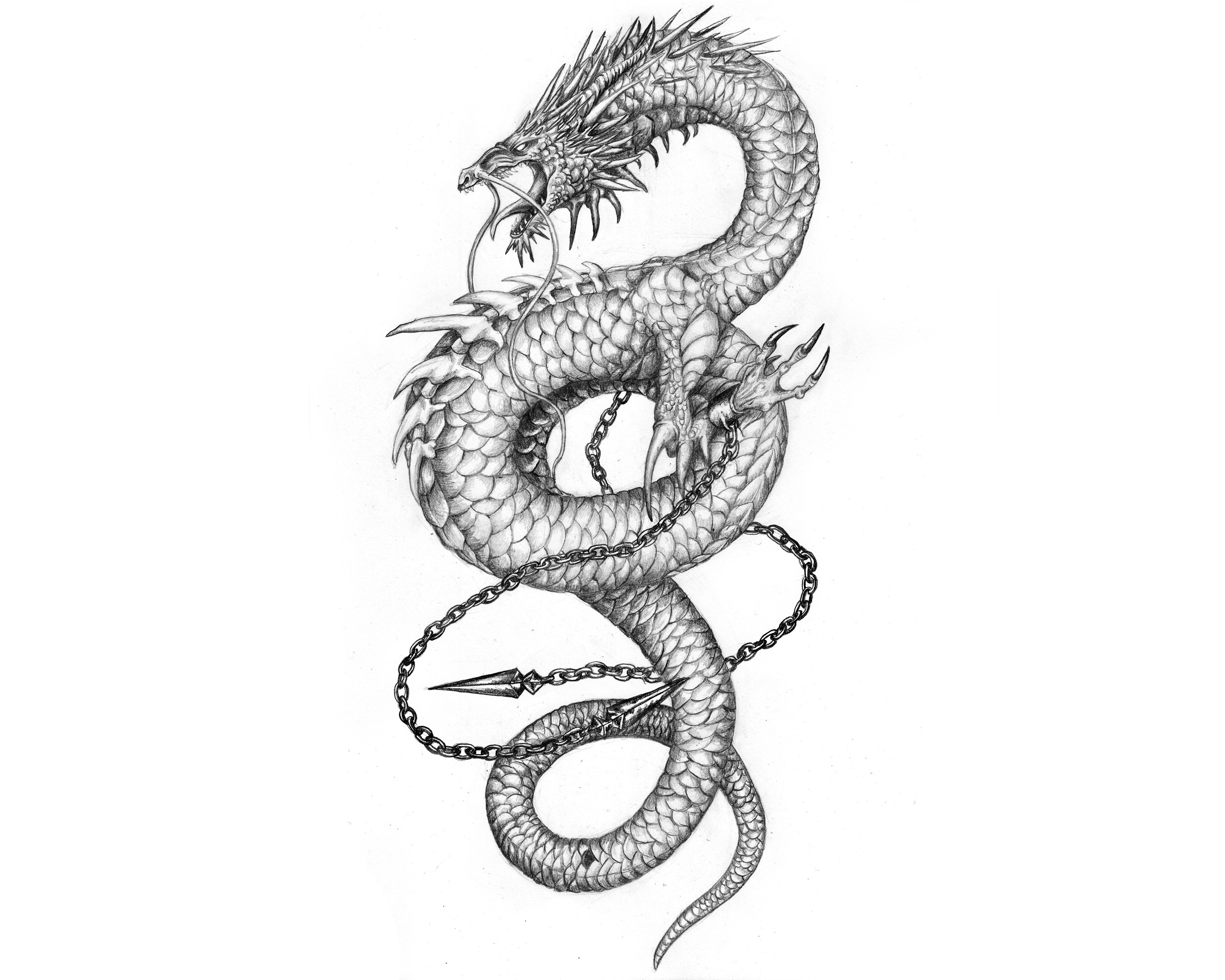 Chinese dragon tattoo on thigh pain