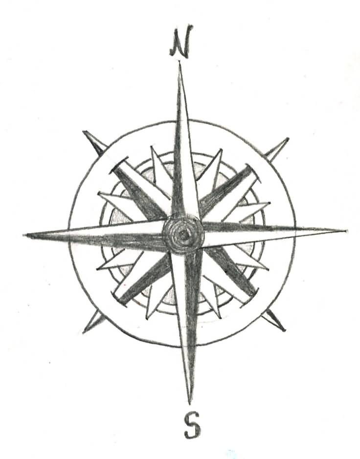 Compass Tattoo Line Drawing : Compass tattoos designs ideas and meaning for you
