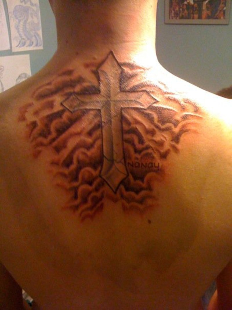 Cloud tattoos designs ideas and meaning tattoos for you for Cross tattoos with clouds