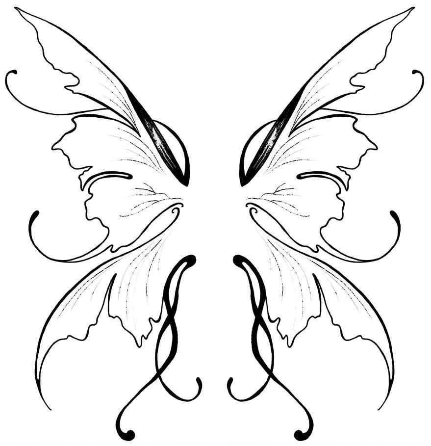Simple Fairy Wings Drawing