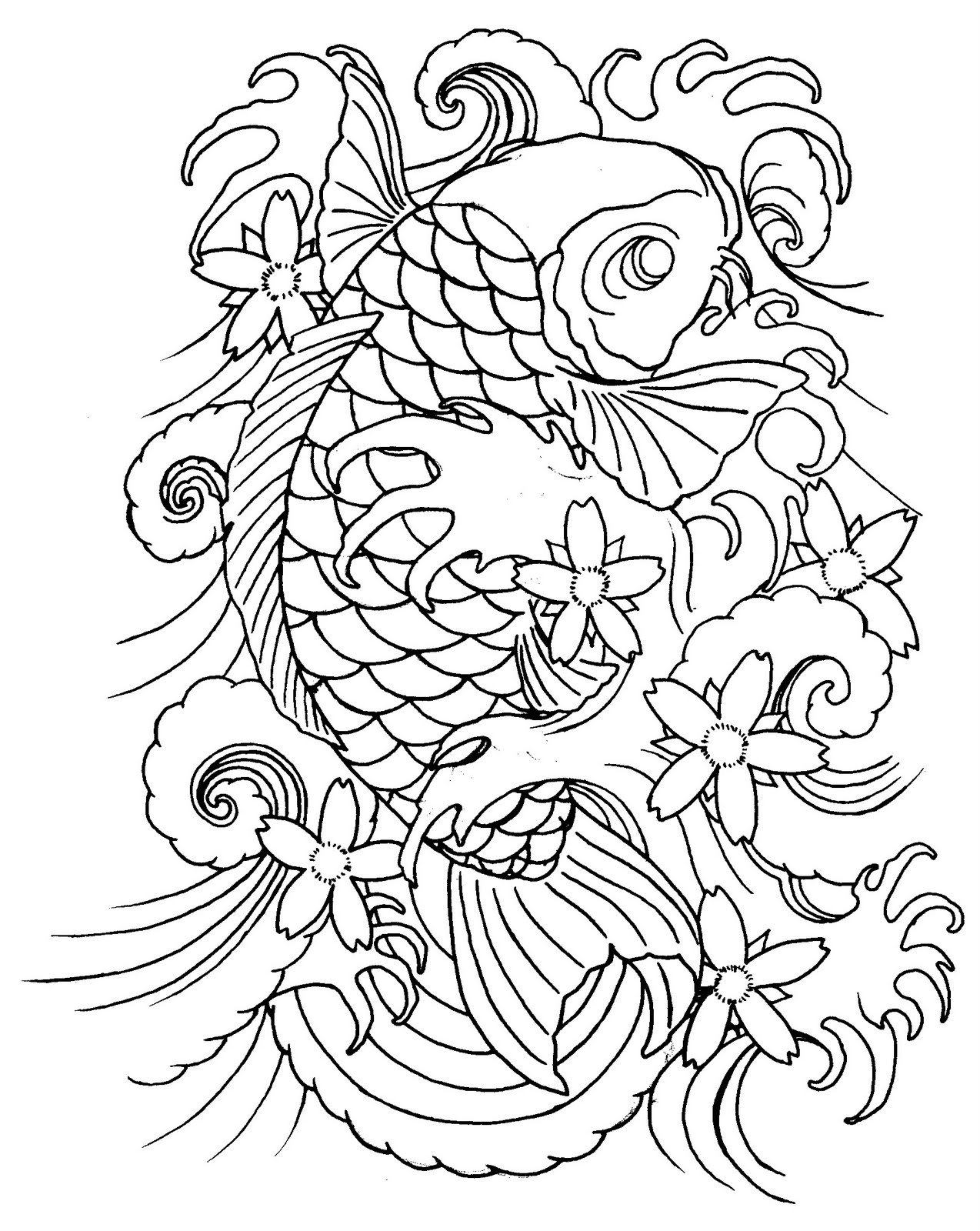 Koi tattoos designs ideas and meaning tattoos for you for Japanese koi fish drawing