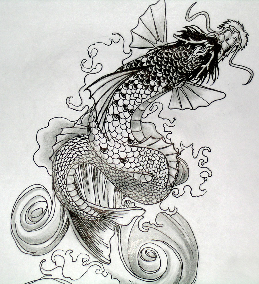 Koi tattoos designs ideas and meaning tattoos for you for Black dragon koi