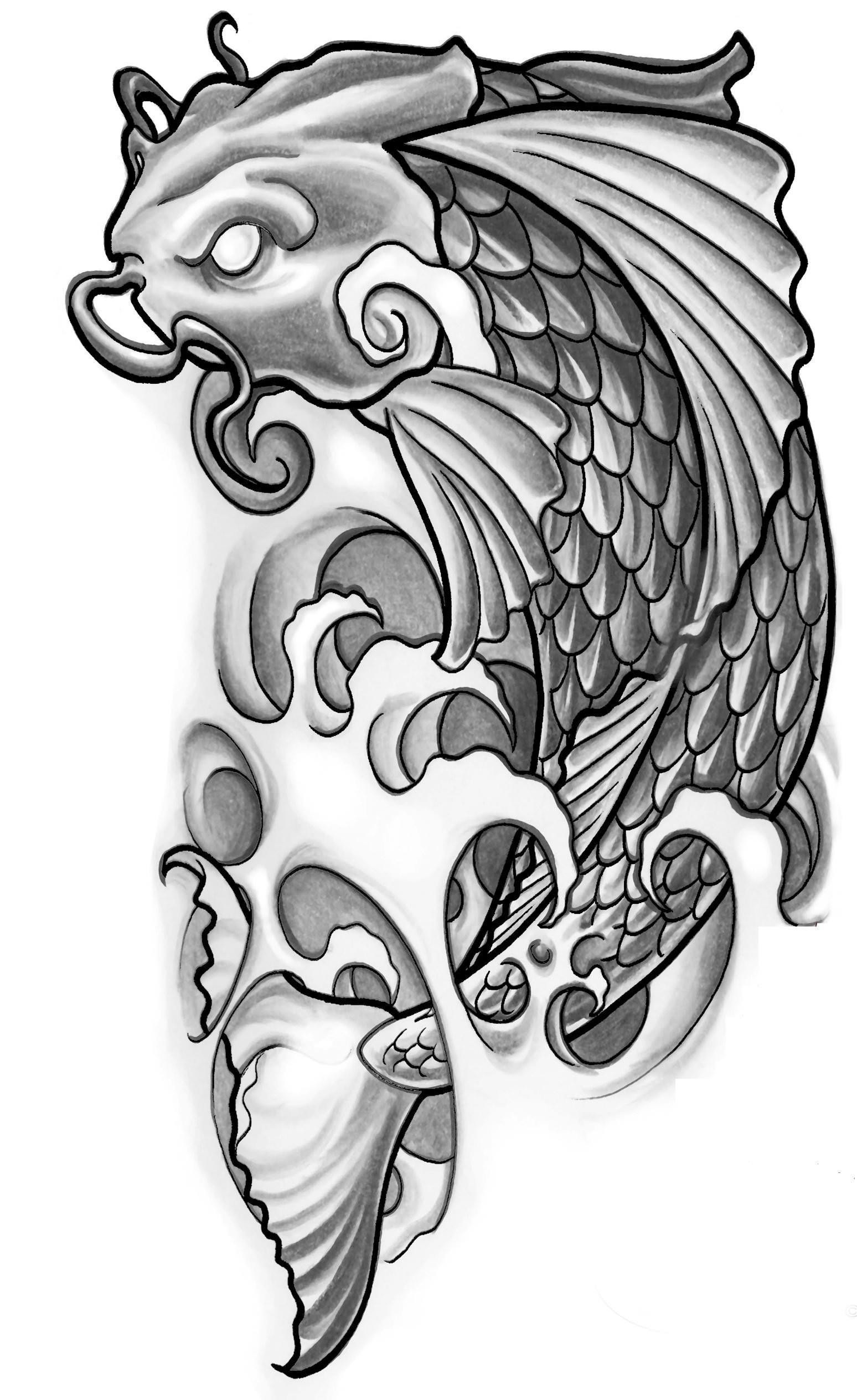 Koi tattoos designs ideas and meaning tattoos for you for Black and white coy fish