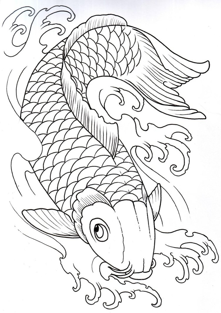 Tattoo Drawing Outline : Koi tattoos designs ideas and meaning for you