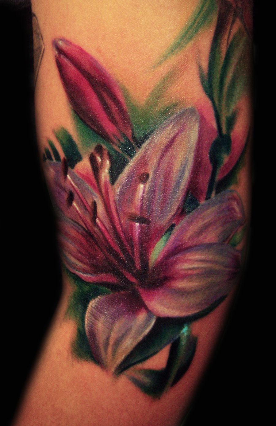 Lily Flower Foot Tattoo Designs