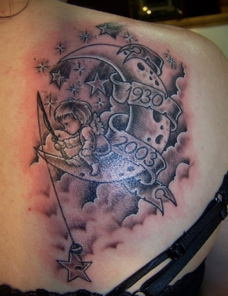 Cloud tattoos designs ideas and meaning tattoos for you for Moon and star tattoo designs