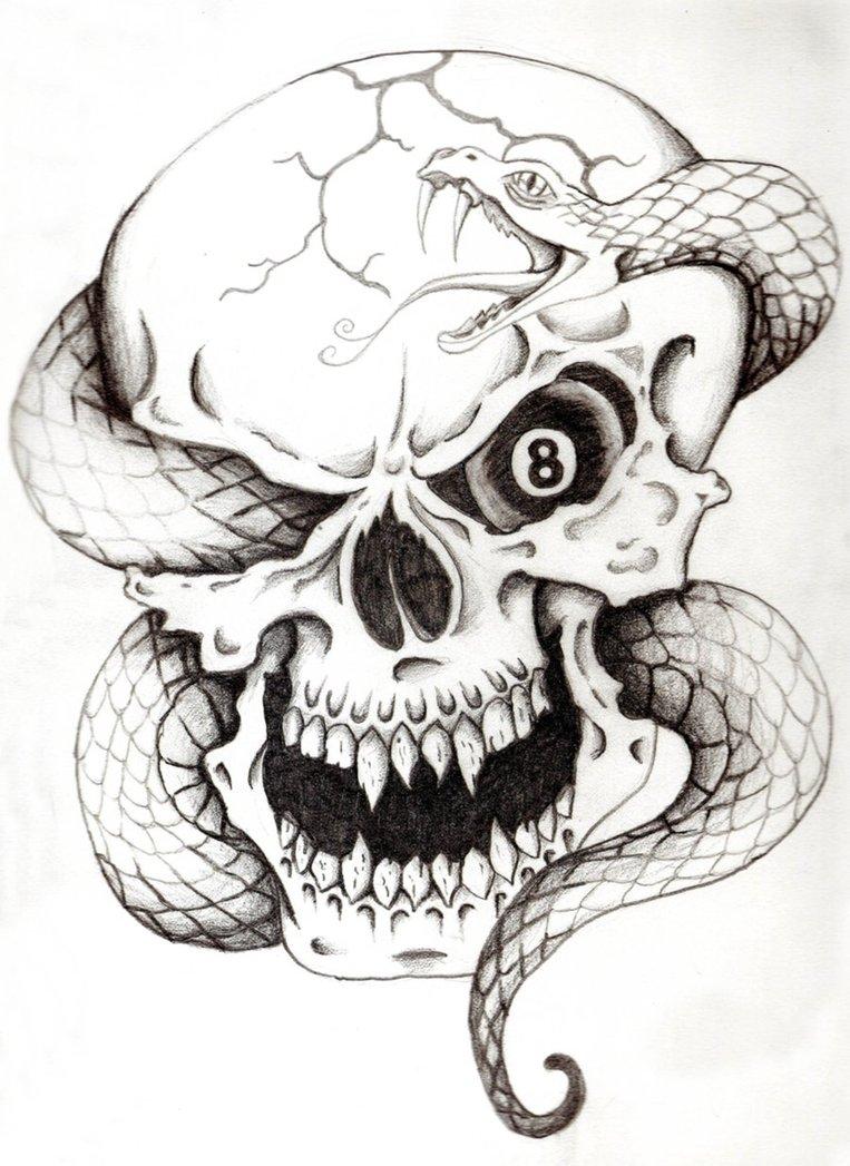 Skull and Snake Tattoo  Cobra Skeleton Tattoo