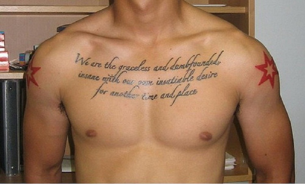 Men Chest Quotes Tattoos