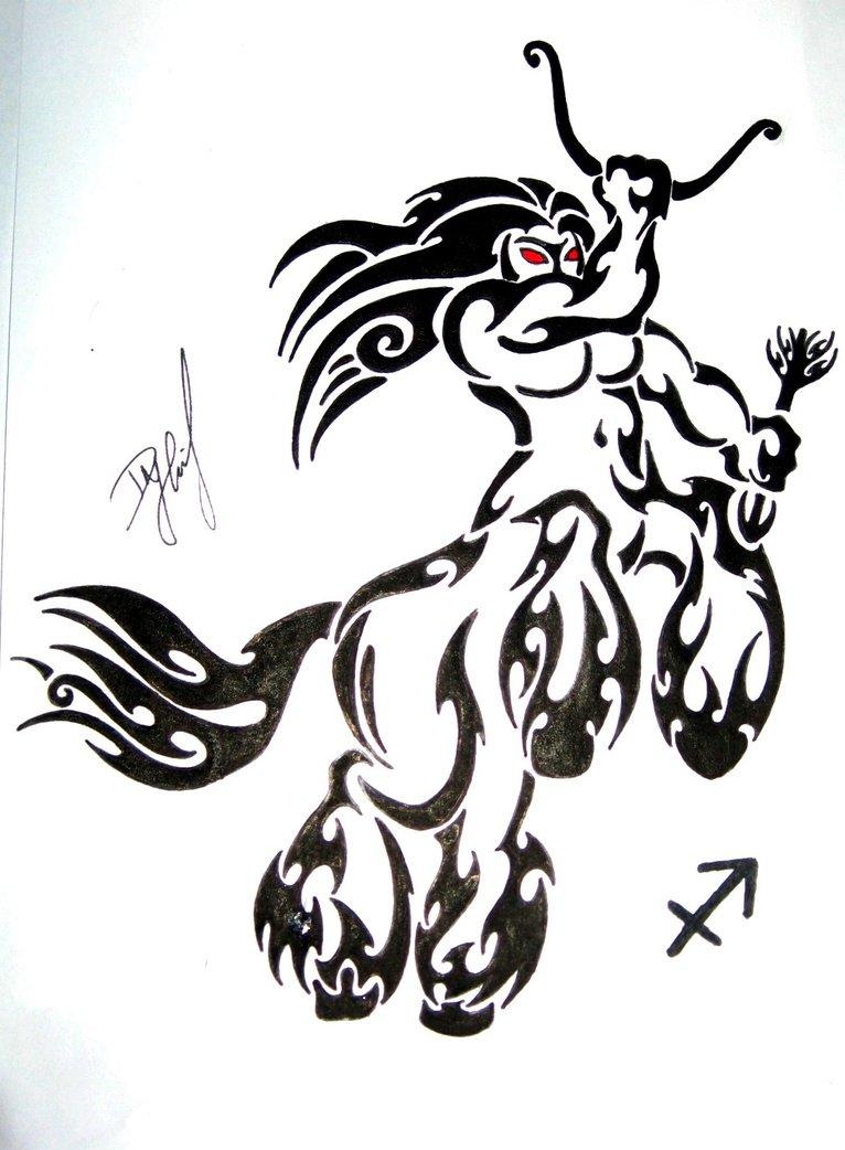Sagittarius Tribal Drawings Tattoos Designs Ideas And