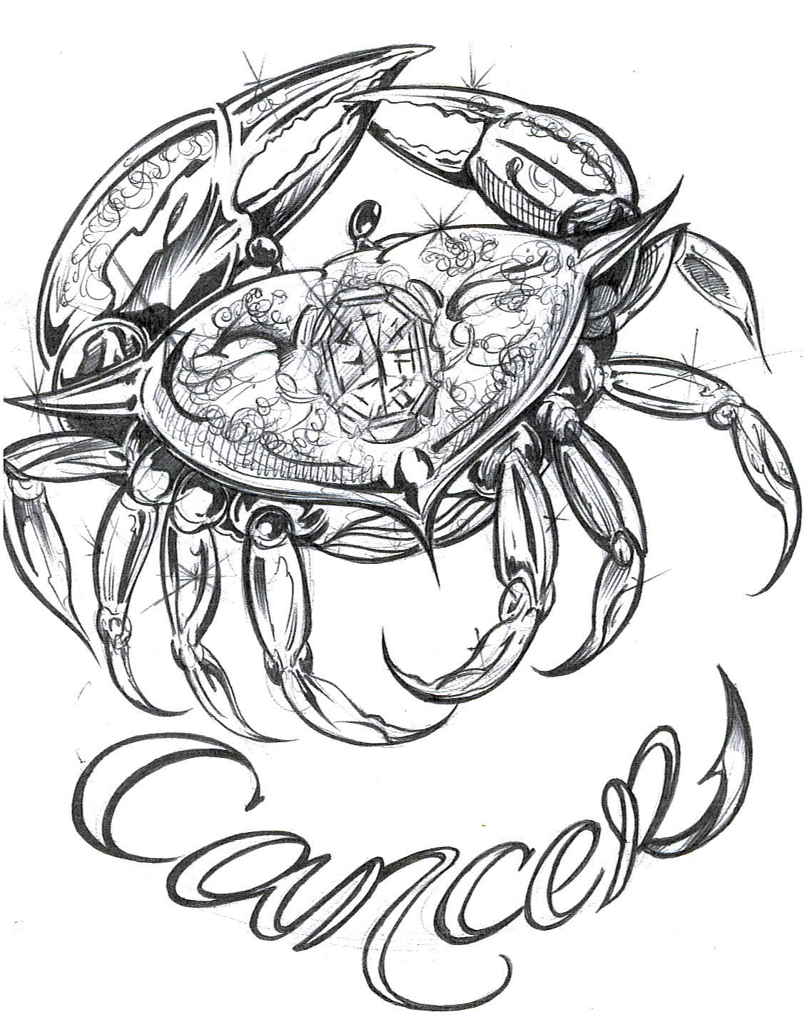 Zodiac Crab Tattoo Designs