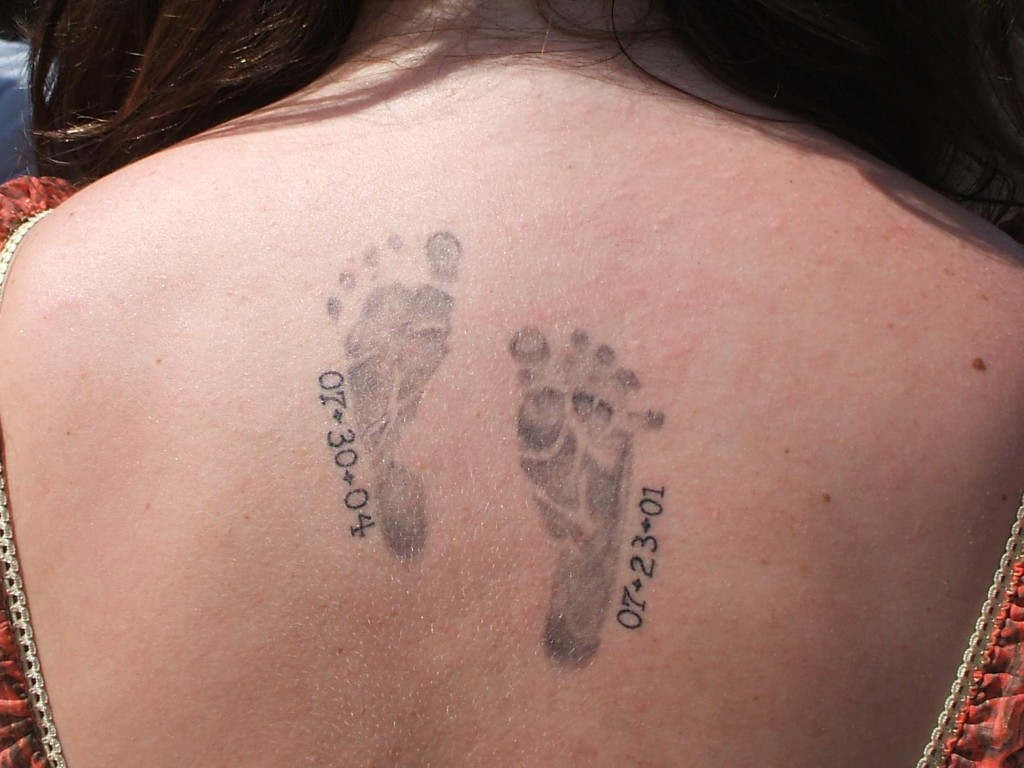 Baby Footprint Tattoos On Back