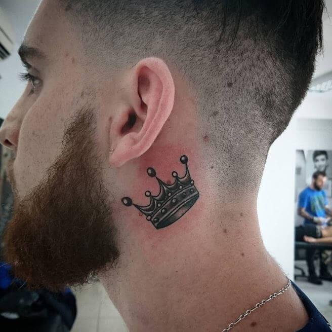 Crown Tattoo Behind Ear Men