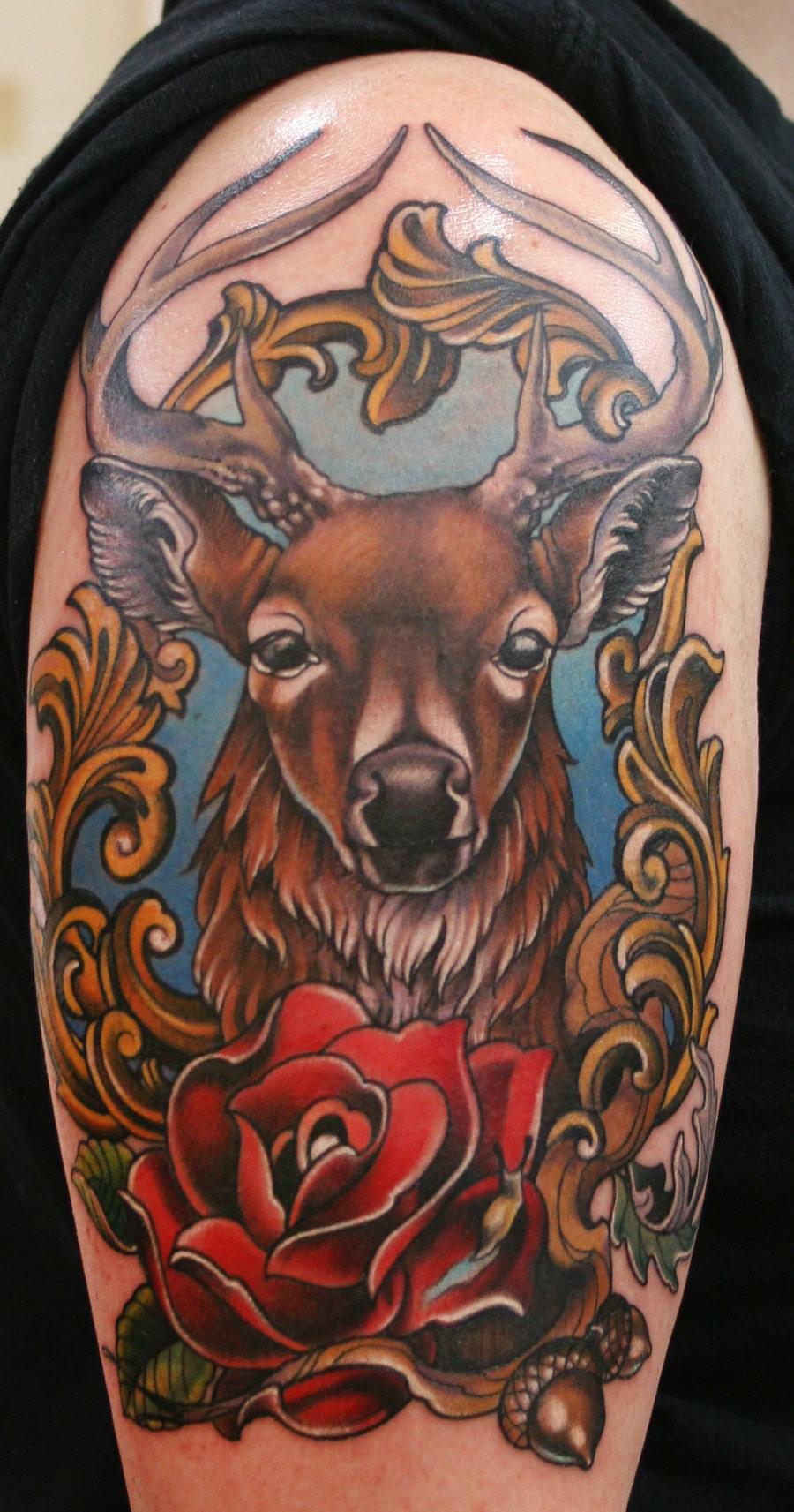 Deer Head Tattoo Designs Traditional Deer Tattoo Drawing