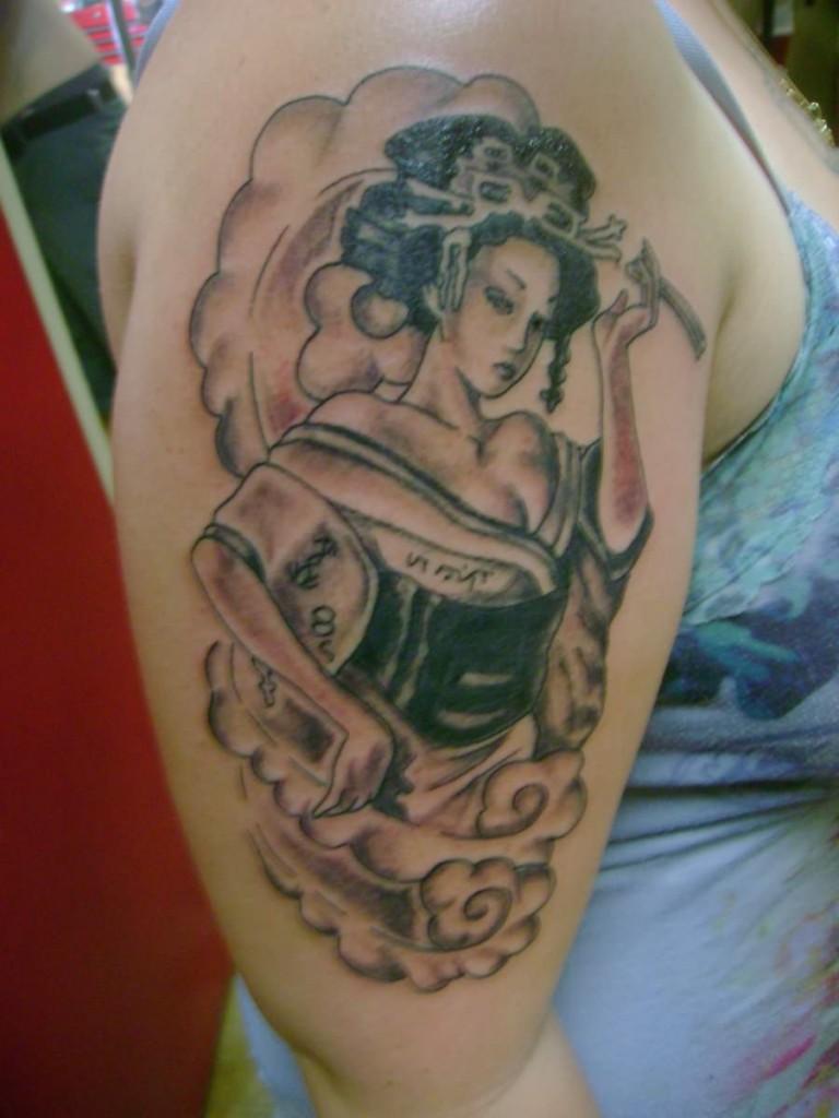 Geisha Sleeve Tattoo