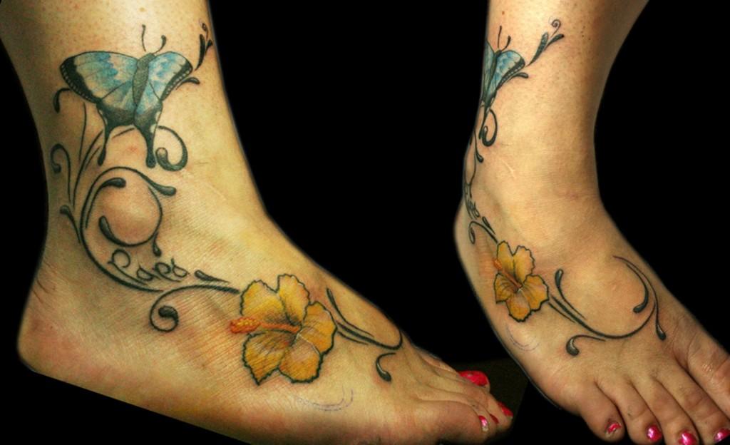 Hibiscus Foot Tattoo