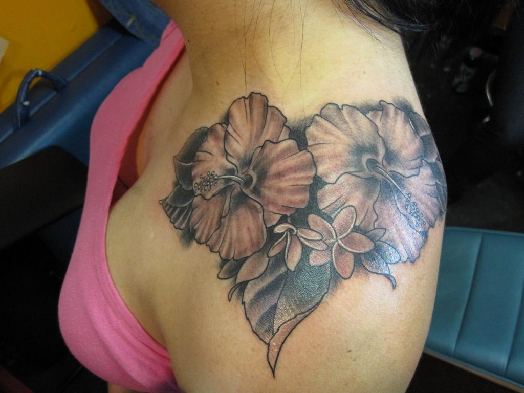 Hibiscus Shoulder Tattoos