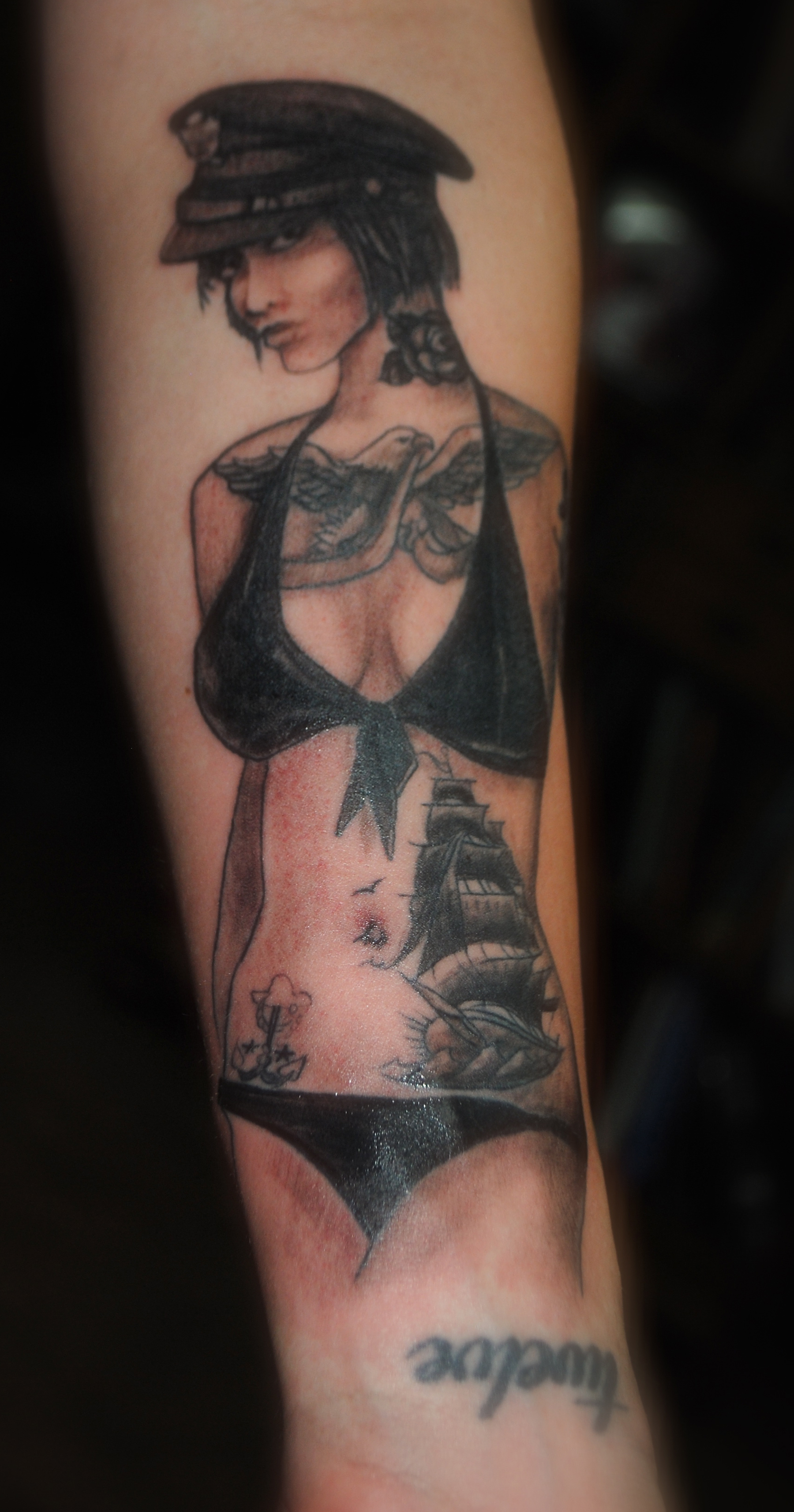 Asian pin up tattoo