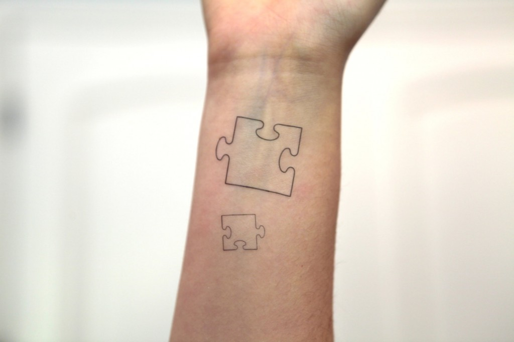 Puzzle Piece Wrist Tattoo