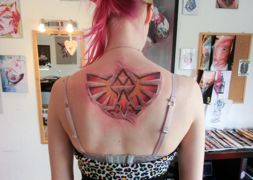 Triforce Back Tattoo