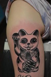 Black Lucky Cat Tattoo