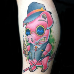 Cartoon Pig Tattoo