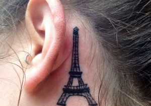 Eiffel Tower Tattoo Behind Ear
