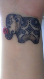 Indian Elephant Tattoo on Wrist